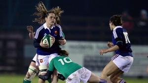 Ireland's Nora Stapleton and Ailis Egan tackle Elodie Poublan of France