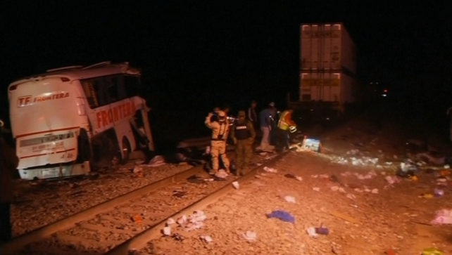 The collision happened when the bus was attempting to cross rail tracks in the city of Anahuac, Nuevo Leon