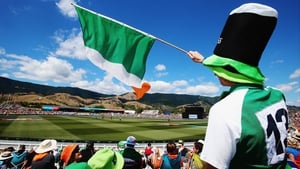 ...as Irish fans watch on in the sunshine at the cricket World Cup in Nelson, New Zealand