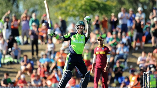 John Mooney celebrates after hitting the winning runs against the Windes at the 2015 Cricket World Cup