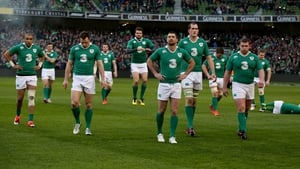 The Ireland team leave the field following their victory over France at Aviva Stadium