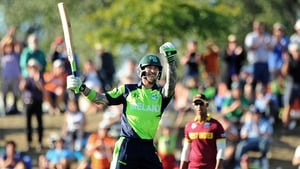 Ireland's John Mooney celebrates the winning runs against the West Indies...