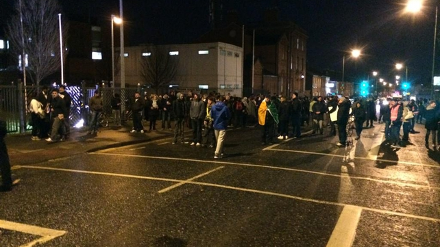 Protesters on the North Circular Road outside Mountjoy Prison