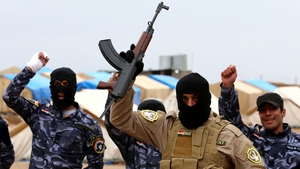 Iraqi special forces policemen at a training session as they prepare to recapture Mosul