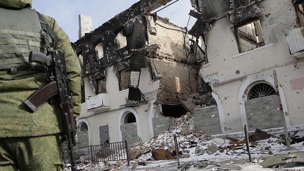 A destroyed building outside Debaltseve district of Donetsk, Ukraine