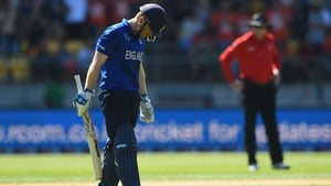 Eoin Morgan looks dejected after losing his wicket earlier today