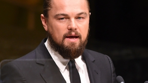 Leonardo DiCaprio speaking at the UN Climate Summit last September, sporting the beard (and pony-tail ) required for The Revenant, in which he plays a nineteenth century trapper.