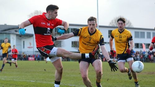UCC's Paul Geaney attempts a shot on goal while under pressure from Conor Boyle of DCU