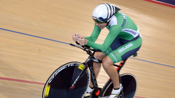 Caroline Ryan and her Ireland team-mates lowered the national record in the team pursuit by a massive 4.372 seconds in Grenchen in Switzerland