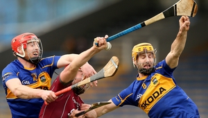 Tipperary's Denis Maher and Kieran Bergin battle with with Iarlaith Tannian of Galway
