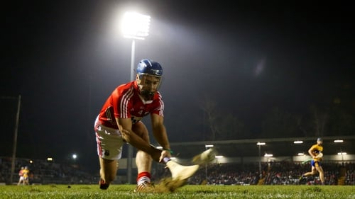 Cork's Conor O'Sullivan takes a sideline cut during the game against Clare