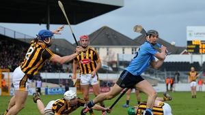 Dublin's Mark Shutte scores a point despite the efforts of Kilkenny's Tomas Keogh, Lester Ryan and Cillian Buckley