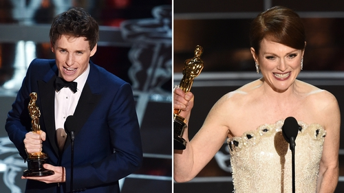 Eddie Redmayne and Julianne Moore picked up the best actor and actress awards at the Oscars