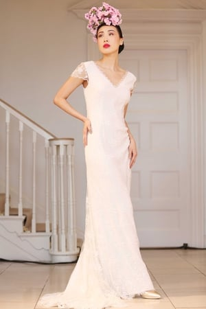 Poppy Ivory Fine Lace Bridal Gown with Delicate Scatter Beadwork  Bespoke