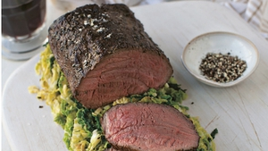 Roast Fillet of Beef with White Bean Mash and Savoy Cabbage