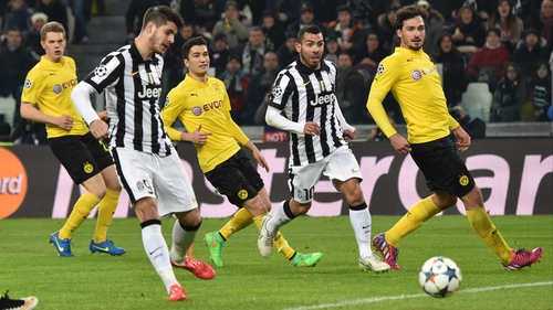 Alvaro Morata scores what proved to the winner for Juventus in Turin
