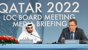 Jerome Valcke with Hassan al-Thawadi, head of the Qatar 2022 World Cup organising committee