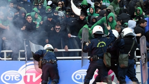 Riot police clash with Panathinaikos fans