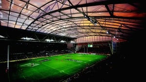 Forsyth Barr Stadium in Dunedin, New Zealand hosts the Super Rugby match between the Highlanders and the Crusaders