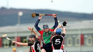 Paul Flaherty rises highest during the Fitzgibbon Cup quarter-final between IT Carlow and LIT in Limerick