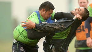 Mata Fafita and Rodney Ah You don't hold back at a Connacht training session at the Sportsground, Galway