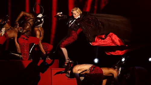 Madonna stumbles whilst performing at the Brit Awards at the O2 Arena, London
