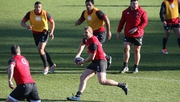 Chris Robshaw makes a pass during England training in Bagshot, England