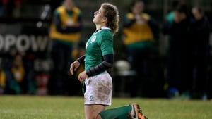 Ireland's Jenny Murphy dejected during the game against France