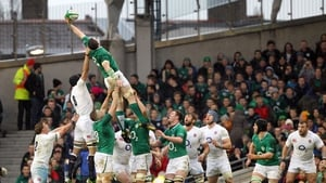 Ireland's Peter O'Mahony wins a lineout against England during the 2014 Six Nations