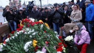 Floral tributes to Boris Nemtsov in Moscow today