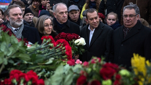 A group of European ambassadors and officials visit the site of the killing of Boris Nemtsov in Moscow
