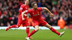 Jordan Henderson celebrates after scoring the opening goal against Man City