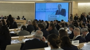 Sergei Lavrov is seen on a screen during his speech at the United Nations headquarters in Geneva