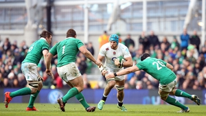 England's James Haskell surrounded by Irish players during the Six Nations clash