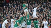 Ireland's Iain Henderson wins a lineout during the game