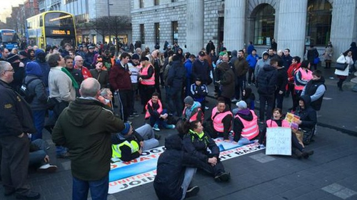 Protesters marched through Dublin after the jail sentences were handed down last month