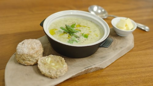 Neven Maguire's Asparagus Soup with Bellingham Blue and Croutons