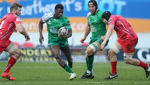 Niyi Adeolokun in action against Scarlets