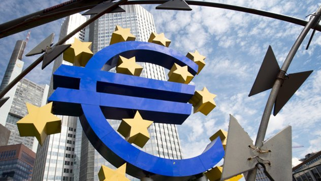 The EU Commission said economic sentiment in the 19 countries sharing the euro fell to 103.8 in February from a slightly upwardly revised 105.1 in January