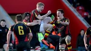 Also on Tuesday, Ardscoil Rís' Conor Fitzgerald celebrates with his team-mates after kicking a penalty to win the Munster SC semi-final over PBC