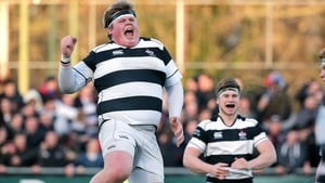 Jack Clarke of Belvedere College celebrates at the end of the his school's victory over Clongowes in the Leinster SC semi-final on Tuesday