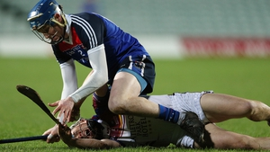WIT's Austin Gleeson and Daire Quinn of UL during the Fitzgibbon Cup final on Saturday