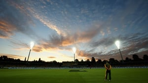 The sun sets during the 2015 ICC Cricket World Cup match between South Africa and Ireland at Manuka Oval on Tuesday