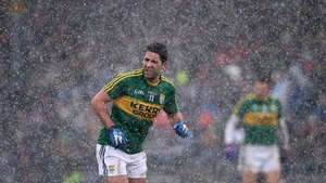 Bryan Sheehan in a heavy hail shower during the Dublin vs Kerry game on Sunday
