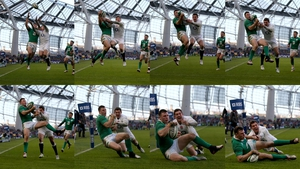 Robbie Henshaw beats Alex Goode in the air to score Ireland's try during the six Nations game on Sunday