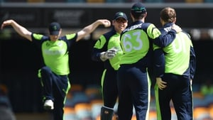 Ireland cricketers Niall O'Brien, Gary Wilson, Andrew Balbirnie and Paul Stirling celebrate after the wicket of UAE batsman Krishna Karate on Wednesday
