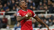 Ashley Young celebrates scoring what proved the winning goal