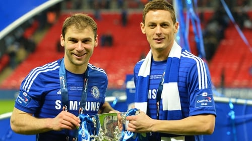 Nemanja Matic (R) with team-mate Branislav Ivanovic and the League Cup