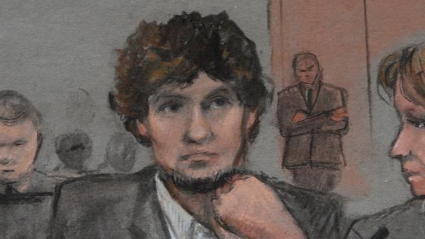A court illustration of Dzhokhar Tsarnaev during the trial