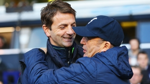 Tim Sherwood (as Spurs manager) with then-Crystal Palace manager Tony Pulis in 2014